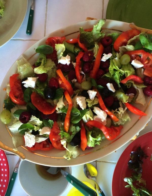 salade tomates framboises