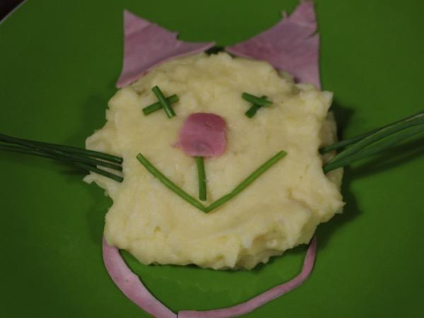 chat purée jambon