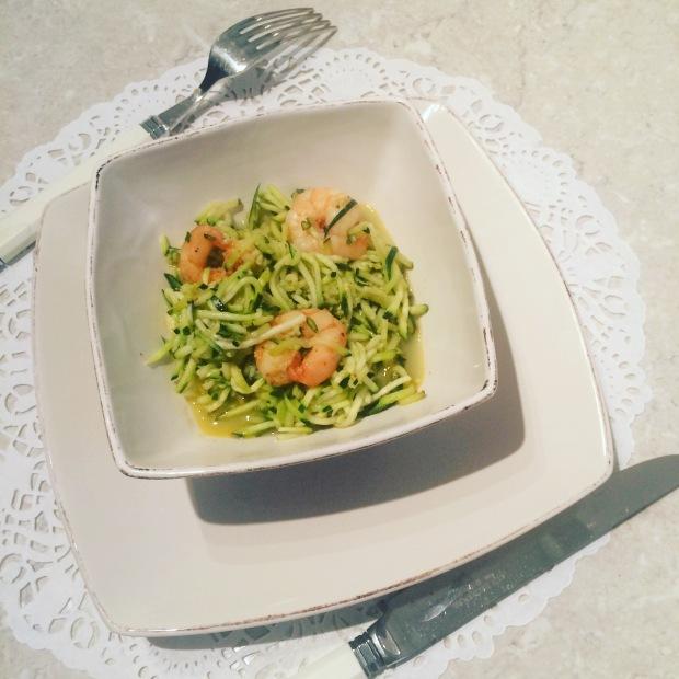 spaghetti de courgettes aux crevettes