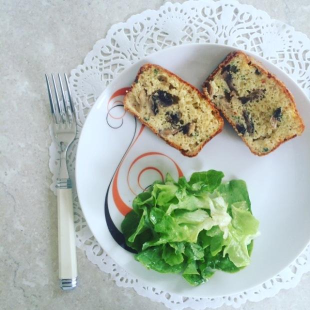 cake aux champignons et chèvre